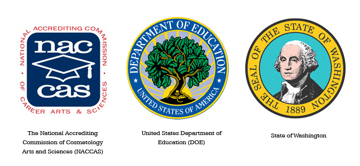 Accreditations logos - National Accrediting Commission of cosmetology Arts and Sciences, United States Department of Education, State of Washington.