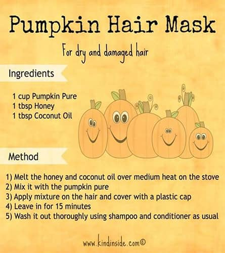 A infographic of how to create a pumpkin hair mask. Learn pumpkin masks and scrubs at Paroba.